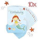'10cartes d'invitation pour anniversaire d'enfant Sirène Malin Fête, Anniversaire de piscine de la marque emufarm® image 2 produit