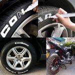 10 PCS blanc stylos marqueur de peinture de pneu mis, stylo permanent imperméable universel adapté pour voiture moto pneu bande de roulement en caoutchouc en métal de la marque MRCARTOOL image 3 produit