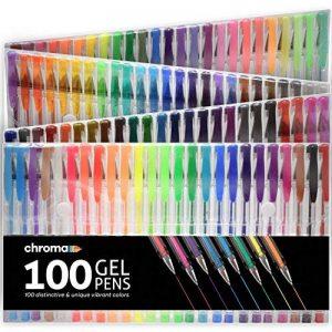 100 stylos à encre gel de couleur Chroma avec étui - Gel Pens extra large - Couleurs UNIQUES (aucune en double) – Encre de qualité supérieure glissant facilement - Parfaits pour le coloriage de la marque Chroma image 0 produit
