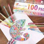 100 stylos gel Zenacolor avec étui - Boîte de Gel Pens extra large – 100 stylos bille avec gel de couleur UNIQUES (aucune en double) – Avec une encre de qualité supérieure qui coule facilement - Parfaits pour les livres de coloriage pour adultes, l'art th image 5 produit