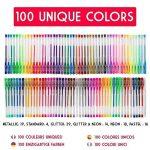 100 stylos gel Zenacolor avec étui - Boîte de Gel Pens extra large – 100 stylos bille avec gel de couleur UNIQUES (aucune en double) – Avec une encre de qualité supérieure qui coule facilement - Parfaits pour les livres de coloriage pour adultes, l'art th image 1 produit