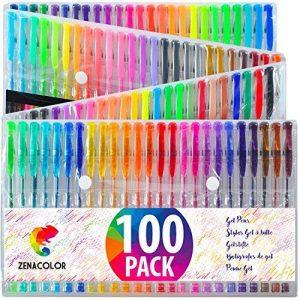 100 stylos gel Zenacolor avec étui - Boîte de Gel Pens extra large – 100 stylos bille avec gel de couleur UNIQUES (aucune en double) – Avec une encre de qualité supérieure qui coule facilement - Parfaits pour les livres de coloriage pour adultes, l'art th image 0 produit