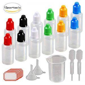 12 pcs Flacons Compte-gouttes, KAKOO 30ml Bouteilles liquides Fiole vide en plastique avec entonnoire gobelet gradué pour e-liquides,DIY craft de la marque KAKOO image 0 produit