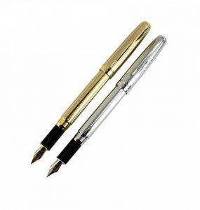 2 pcs jinhao 601 stylos plume en 2 couleurs (argent, or) avec poche stylo et boîte cadeau de la marque Hillento image 0 produit