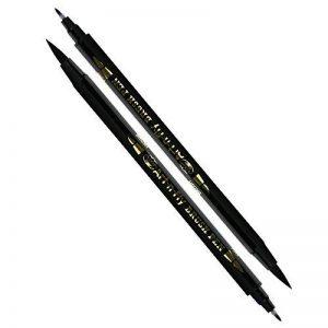 2 Stylos Pinceaux Noir à Double Pointe pour Calligraphie et Lettrage - Feutre Pinceau à Pointe Fine et Épaisse pour Dessiner de la marque Art-n-Fly image 0 produit