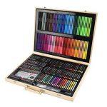 251pcs Boîte en bois artiste Set Professionnel enfants Art peinture Set Artiste ensemble Deluxe Crayons Peintures Stylos Crayons Ensembles pour l'école et le voyage de la marque HJXJXJX image 4 produit