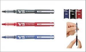 3marqueurs Pilot rechargeables V-5+ trois recharges (couleurs noir, bleu et rouge) de la marque Arge image 0 produit