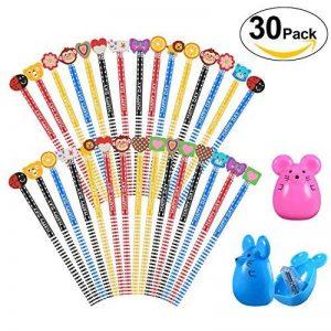 30 x crayons de bois dessin, 2 x taille-crayon kawaii, Rymall crayon a papier fantaisie de dureté de HB, crayons papier avec gomme animaux pour les enfants pour la fête d'anniversaire parti d'enfants récompenses d'école de la marque Rymall image 0 produit