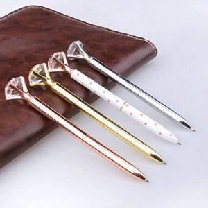 4 stylos à bille en métal avec gros diamant/cristal, stylo à bille en métal, fournitures de bureau en Or/argent/or rose/blanc avec rose pois, encre noire, boîte-cadeau transparente de la marque KRUCE image 0 produit
