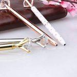 4 stylos à bille en métal avec gros diamant/cristal, stylo à bille en métal, fournitures de bureau en Or/argent/or rose/blanc avec rose pois, encre noire, boîte-cadeau transparente de la marque KRUCE image 2 produit