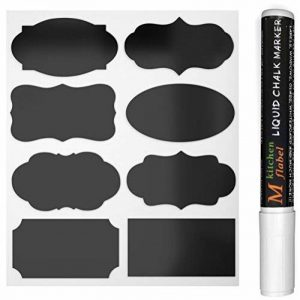 40Noir Tableau d'autocollants amovible, Reusable vinyle Stickers pour, étiquettes pma-10avec marqueurs craie liquide pour verres, Alimentaire, Épices, Lunettes, bureau simple Organiser de la marque CiaraQ image 0 produit
