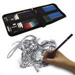 41PCS kit de dessin pro avec Crayons Fusain, crayon de couleur aquarellable, crayon graphite et accessoire dessin dans une grosse trousse, Idéal Cadeaux pour étudiant Artiste Adulte Enfant de la marque TvFly image 6 produit