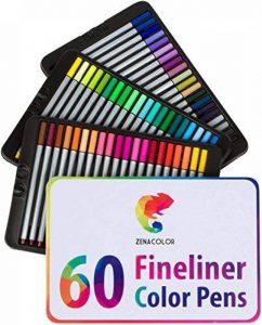 60 Feutres à pointes fines pour coloriage Zenacolor - 60 couleurs uniques (aucune en double) - Stylos Fineliner 0.4mm - Encre à base d'eau - Idéal pour la calligraphie, le dessin de précision, l'écriture, le coloriage pour adulte, BD, manga. de la marque image 0 produit