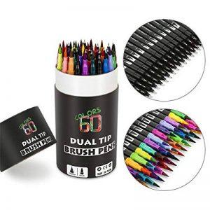 60 stylos marqueurs à double pointe, Mocent 60 unique couleurs stylos double pointe(pinceaux et embouts de finition), parfaits pour la coloration, l'art, le gribouillage, le lettrage et plus encore de la marque Mocent image 0 produit