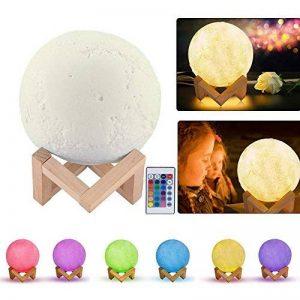 Abedoe Moonlight Lampe, neuf Jour 16Changement de couleur 3D Impression Lune LED Veilleuse Rechargeable USB avec support en bois et télécommande pour anniversaire cadeaux & décoration (5,9pouces) de la marque Abedoe image 0 produit
