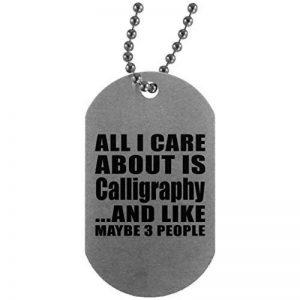 All I care About est calligraphie et comme peut-être 3personnes–militaire, plaque en aluminium ID Tag Collier, Meilleur Cadeau pour anniversaire, anniversaire de mariage, Pâques, fête de Saint Valentin de pères de la marque Designsify image 0 produit