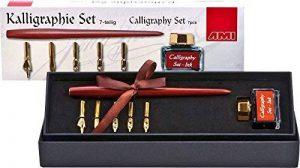 AMI Kit de calligraphie comprenant 1 porte-plume, 5 plumes et 1 pot d'encre de Chine dans boîte cadeau, 7 pièces de la marque 7er Kalligraphie Set image 0 produit