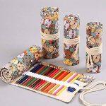 Amoyie trousse à crayon enroulable pour 48 crayons de couleur, sacs organiseurs de toile, porte-crayons pochettes rouleaux, enveloppe de crayon kawaii chat de la marque Amoyie image 1 produit