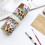 Amoyie trousse à crayon enroulable pour 48 crayons de couleur, sacs organiseurs de toile, porte-crayons pochettes rouleaux, enveloppe de crayon kawaii chat de la marque Amoyie image 3 produit