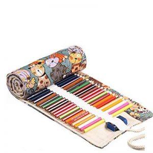 Amoyie trousse à crayon enroulable pour 48 crayons de couleur, sacs organiseurs de toile, porte-crayons pochettes rouleaux, enveloppe de crayon kawaii chat de la marque Amoyie image 0 produit