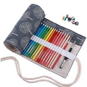Amoyie Trousses pour 36 48 72 crayons de couleur, trousse à crayon enroulable avec perle, enveloppe de crayon, sac de toile de la marque Amoyie image 0 produit