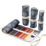 Amoyie Trousses pour 36 48 72 crayons de couleur, trousse à crayon enroulable avec perle, enveloppe de crayon, sac de toile de la marque Amoyie image 1 produit