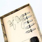 Aolvo Feather Quill Pen, Plume Dip Stylo de wit d'encre, support et pointes antique calligraphie stylet sculpté stylos Ensemble cadeau Rose rouge, Gradient Black, Taille unique de la marque Aolvo image 3 produit