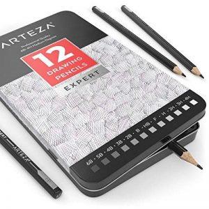 Arteza Crayon Pour Dessin Professionnel, Set Crayons Papier Pour Croquis, Moyen, Boite Métal (Lot de 12) de la marque ARTEZA® image 0 produit