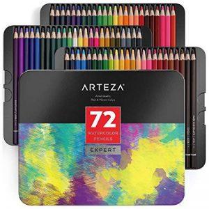 Arteza Crayons De Couleur Aquarelle En Bois Boîte Rangement Métal Set De 72, Crayons Aquarelle Pour Dessin D'art Dans Des Tons Assortis Lumineux, Idéal Pour Les Artistes Débutants Et Professionnels de la marque ARTEZA® image 0 produit