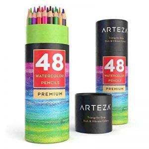 Arteza Crayons De Couleur Aquarelle En Bois - Parfait Pour Coloriage Adulte - Mine Souple - Forme Triangulaire - Pré-Aiguisé (en Tube de 48) de la marque ARTEZA® image 0 produit