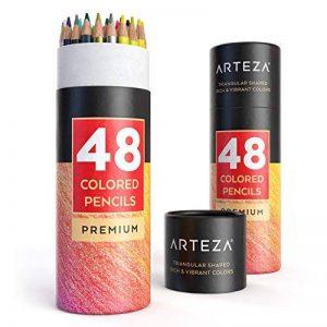 Arteza Crayons de Couleur Bois - Parfait Pour Coloriage Adulte - Mine Souple - Forme Triangulaire - Pré-Aiguisé (en Tube de 48) de la marque ARTEZA® image 0 produit