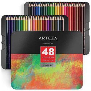 Arteza Ensemble 48 Crayons De Couleur Qualité Professionnelle Pour Artistes Mines Résistantes En Boite Métal de la marque ARTEZA® image 0 produit