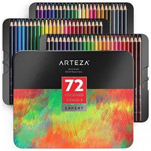 Arteza Ensemble 72 Crayons De Couleur Qualité Professionnelle Pour Artistes Mines Résistantes En Boite Métal de la marque ARTEZA® image 0 produit