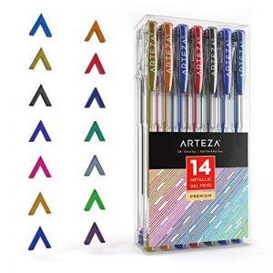 Arteza Ensemble de 14 Stylos Gel Métalliques - Couleurs Uniques - Corps Triangulaire - Pointes Fines 0.8 -1.0 mm (Kit de 14 En Poche Plastique) de la marque ARTEZA® image 0 produit