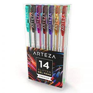 Arteza Ensemble de 14 Stylos Gel Paillettes - Couleurs Uniques - Corps Triangulaire - Pointes Fines 0.8 -1.0 mm (Kit de 14 En Poche Plastique) de la marque ARTEZA® image 0 produit