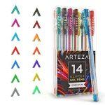 Arteza Ensemble de 14 Stylos Gel Paillettes - Couleurs Uniques - Corps Triangulaire - Pointes Fines 0.8 -1.0 mm (Kit de 14 En Poche Plastique) de la marque ARTEZA® image 2 produit