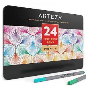 Arteza Feutres à pointes fines pour coloriage - Stylos Fineliner 0.4mm - 24 couleurs uniques - Encre à base d'eau - Lot de 24 de la marque ARTEZA® image 0 produit