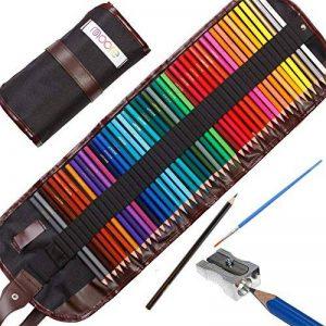 Assortiment de 48 crayons de couleurs pré-taillés haut de-gamme aux couleurs vives, pour adultes et enfants avec un taille-crayon gratuit KUM en alliage métallique dans une pochette dépliante en toile de la marque Moore image 0 produit