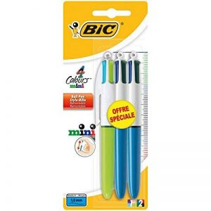 Bic 920382 4 Couleurs Mini Stylos-Bille - Couleurs Classiques et Fashion Assorties, Blister de 3 de la marque BIC image 0 produit