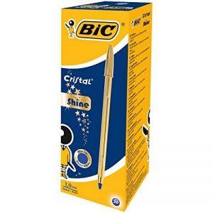 BIC Cristal Original Shine Or Stylos-Bille - Encre Bleue, Boîte de 20 de la marque BIC image 0 produit