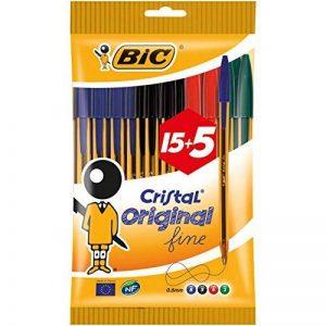 BIC Cristal Original Stylos-Bille Pointe Fine - Couleurs Assorties, Pochette de 15+5 de la marque BIC image 0 produit