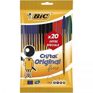 BIC Cristal Original Stylos-Bille Pointe Fine - Couleurs Assorties, Pochette de 20 de la marque BIC image 0 produit