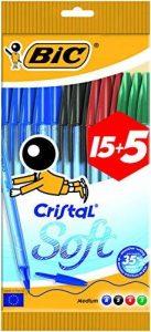 BIC Cristal Soft Stylos-Bille - Couleurs Assorties, Pochette de 15+5 de la marque BIC image 0 produit