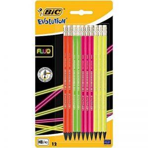 BIC Evolution Fluo Crayons à Papier avec Gomme - HB, Blister de 12 de la marque BIC image 0 produit