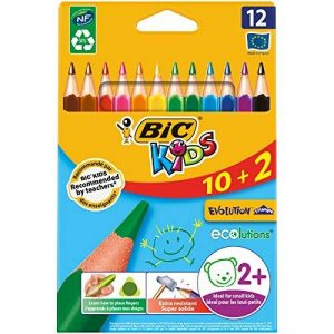 BIC Kids Evolution Triangle Ecolutions Crayons de Couleurs - Etui Carton de 10+2 de la marque Bic Kids image 0 produit