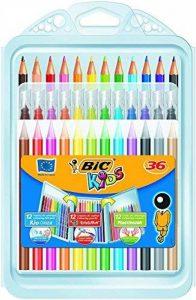 BIC Kids Kit de Coloriage pour Enfants - 8 Feutres/8 Crayons de Couleur/12 Craies, Etui Plastique de 36 de la marque Bic Kids image 0 produit