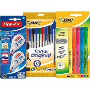 BIC Kit Rentrée des Classes - Pack de 10 Stylos-Bille/5 Surligneurs Fluo/2 Rubans Correcteurs, Lot de 3 de la marque BIC image 0 produit