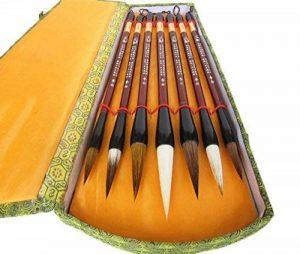 Boîte cadeau de calligraphie chinoise Brosse de 7pièces Kanji Pinceaux de la marque UE STORE image 0 produit