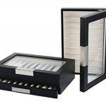 Boîte à crayons en bois avec vitrine Coffret Trousse pour 20stylos avec laque noire de la marque Woolux image 2 produit