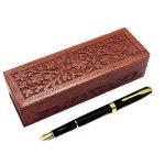 Cadeau de Noël ou d'anniversaire Wooden Pencil Box, conception de fleur Sculpture Travail Pen Box, boîte de rangement 8inch. de la marque IndiaBigShop image 1 produit